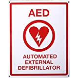 """First Voice TS-151 AED Wall Sign, Metal, Flat, 8"""" x 10"""", White/Red"""