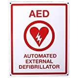 First Voice TS-151 AED Wall Sign, Metal, Flat, 8'' x 10'', White/Red