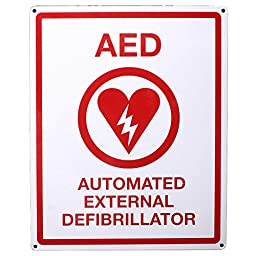 First Voice TS-151 AED Wall Sign, Metal, Flat, 8\