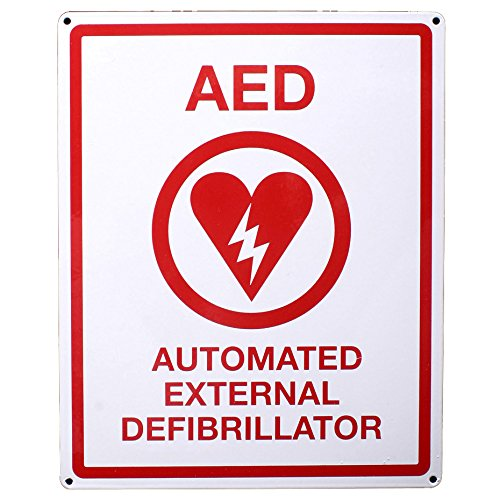 First Voice TS-151 AED Wall Sign, Metal, Flat, 8' x 10', White/Red 8 x 10 Think Safe Inc.