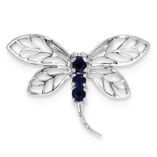925 Sterling Silver Rhodium-plated Dark Blue Sapphire Dragonfly Charm Pendant