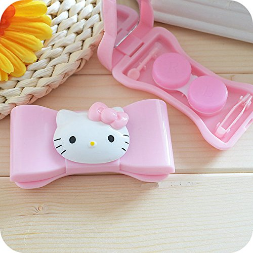 2pcs/lot Hello Kitty Bow Porfessional Pocket Mini Contact Lens Case