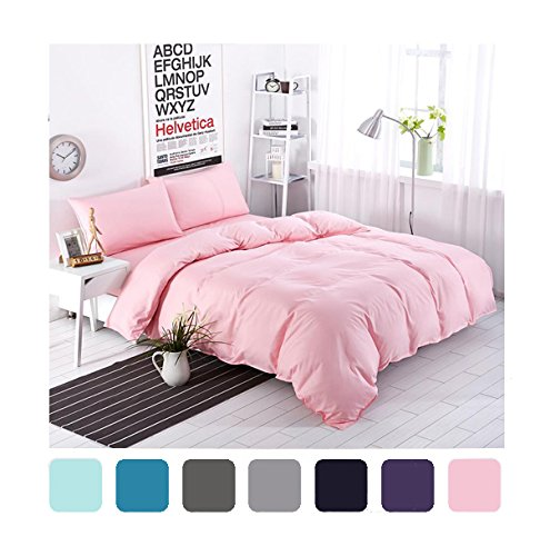 Moreover 4-Pieces Pink Bedding, Lightweight Microfiber Solid Color Duvet Cover Set, Pink Bedding For Girls and Boys, One
