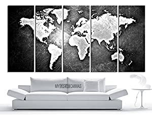 Large wall art canvas world map modern embossed white and gray world map on metalic black background 5 panel large wall art 60x32 inch total large wall art canvas world map modern embossed white and gray world map on metalic black background 5 panel large Image collections