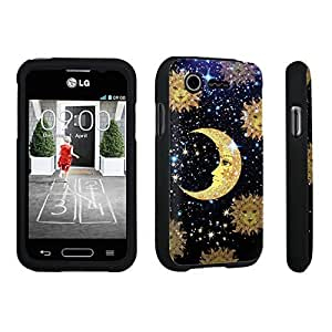 DuroCase ? LG L34C Optimus Fuel / LG Optimus Zone 2 VS415PP Hard Case Black - (Moon Stars Sun)