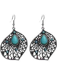 Women Jewelry Vintage Tibetan Silver-plated Hollow Green Turquoise Dangle Earrings Women Gift Idea