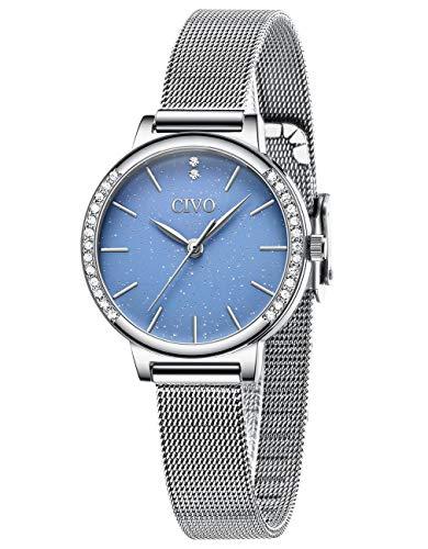 🥇 CIVO Relojes para Mujer Resistente al Agua Reloj de Pulsera de Azul Cielo Estrellado Vestido Malla de Acero Inoxidable Relojes Cuarzo Analógicos Diseño Casual Elegantes para Niñas