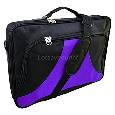 """Lotsaveoutlet 17.3"""" 17"""" 16.4"""" 15.6"""" Inch Laptop Notebook Carrying Messenger Bag Case Briefcase Black Purple from lotsaveoutlet"""