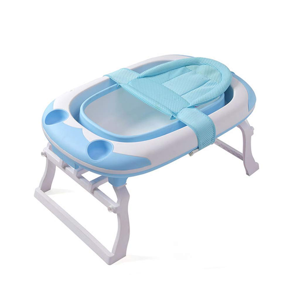 ポータブル子供用折りたたみバスタブ、ベビープール大容量入浴スパ浴槽、ピンクブルー (色 : 青)  青 B07NP4MR93