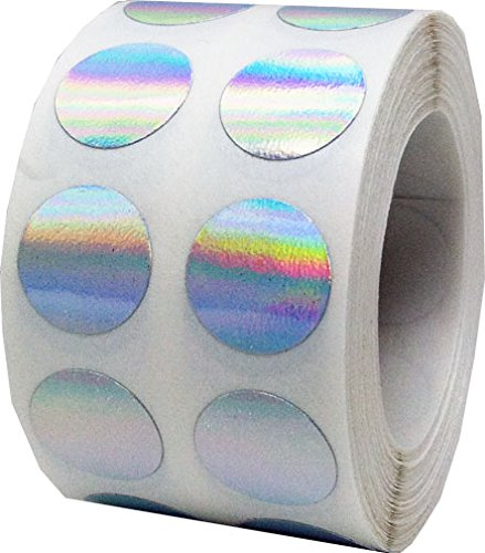 Holographic Silver Color Coding Labels Round Circle Dots 1/2 Inch 1,000 Total Adhesive Stickers