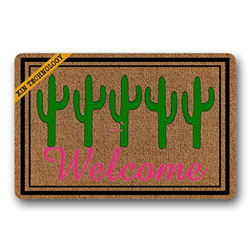 Artsbaba Funny Doormat Cactus Welcome Door Mat Rug Indoor Washable Floor Mat Home Decor 23.6