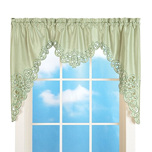 (Collections Etc Elegant Scalloped Design Cut-Out and Embroidered Scroll Window Valance with Rod Pocket Top for Easy Hanging, Sage Green, 58