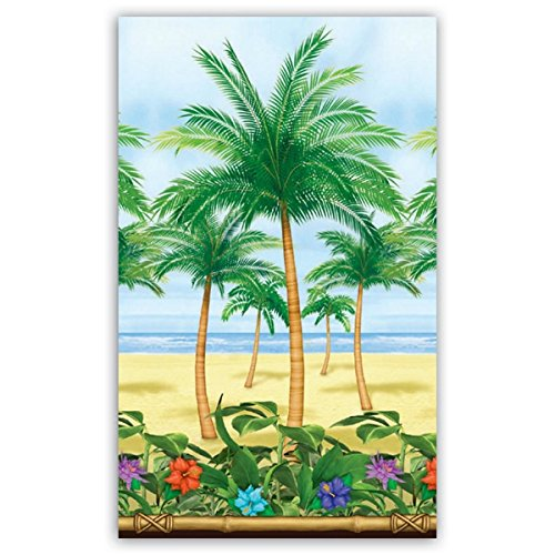 Amscan Sun-Sational Summer Luau Palm Trees Scene Setter Room Roll Decoration (1 Piece), Multi Color, 1.2m x 15.2m