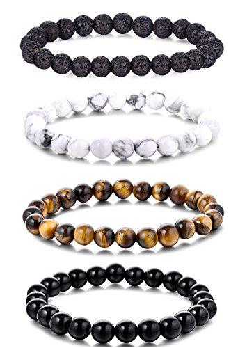 WRCXSTONE Natural 8mm Gorgeous Semi-Precious Gemstones Healing Crystal Stretch Beaded Bracelet Unisex (4 Pieces A Set(4 Colors))