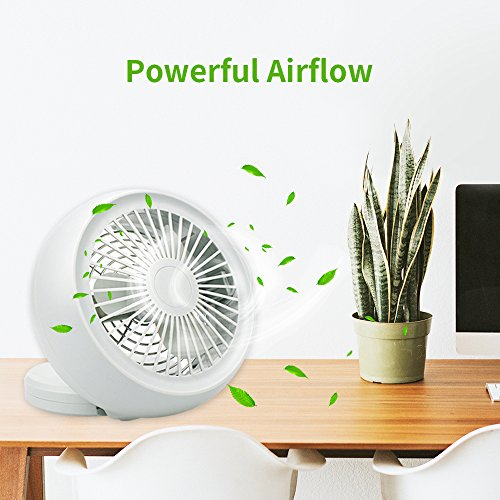 Mini USB Fan, Throne 6 Portable Desk Fan w/USB and Battery Dual Power Supply, Angle Adjustable and Low Noise, Silent Cooling Fan for Home, Office with Powerful Airflow (White) by Wolfarya (Image #2)