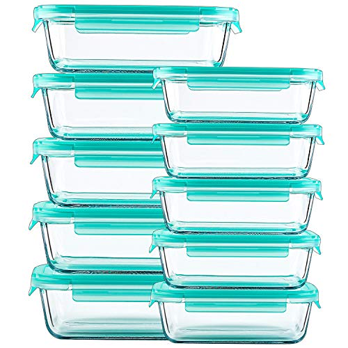 Glass Containers for Food Storage with Lids - 10 Pack, 2 Sizes (34 Oz, 12 Oz) Meal Prep Containers, Airtight Glass Lunch Bento Boxes, BPA-Free (Airtight Container 12 Oz)
