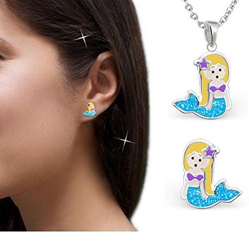 gh1a purpurina sirena Juego colgante + collar + pendientes plata 925