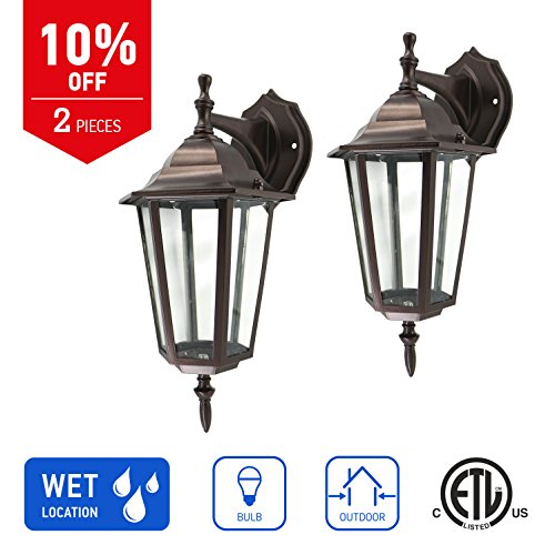 Aluminum Patio Base - IN HOME 1-Light Outdoor Exterior Wall Down Lantern, Traditional Porch Patio Lighting Fixture L01 with One E26 Base, Water-Proof, Bronze Cast Aluminum Housing, Clear Glass Panels, (2 Pack) ETL Listed