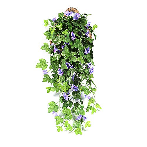 (keebgyy Artificial Rattan, Faux Green Leaf Simulation Morning Glory Spring Front Door Welcome Gift, Pendant Hanging Ornament Decoration Props)