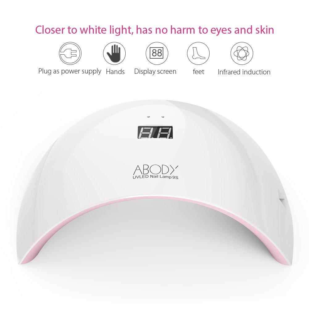 Sèche-ongles LED Lampe UV, Abody avec LCD Ecran 24W Portable Séchoirs à Ongles Lumière Blanche Lampe à Polymériser Nail Art
