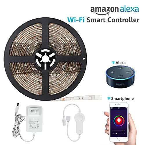 16.4ft Led Strip Light Work with Alexa, Wifi Wireless Smart Phone App, Flexible Color Changable RGB 36W Lighting Kit, IP65 Waterproof, UL Listed 12V Power Supply in Party & Home Decoration - Gorgeous Box