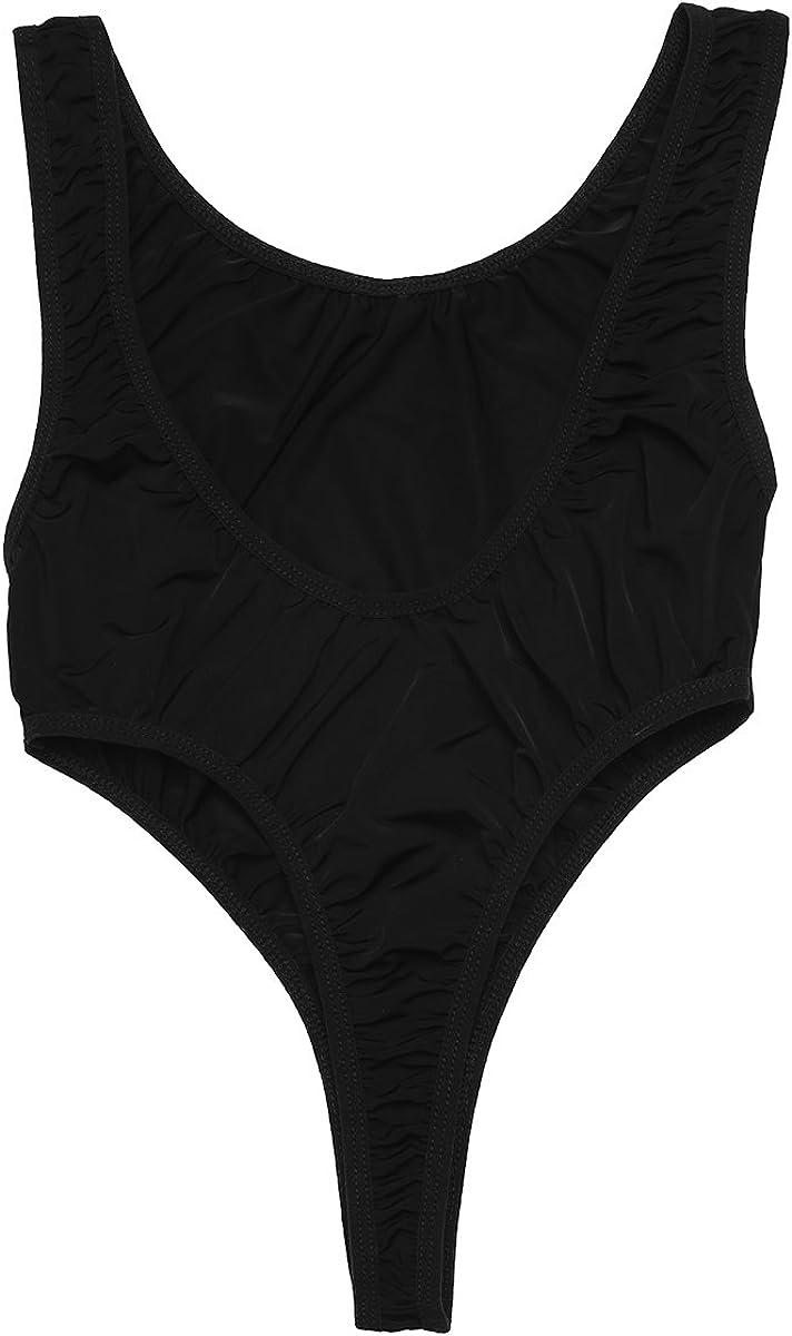 dPois Femme Body String Lingerie Maillot de Bain 1 Pieces Body Combinaisons Transparent Bodysuit Nuisette D/ébardeur sans Manches Justaucorps Gym Leotard Dancewear Plage
