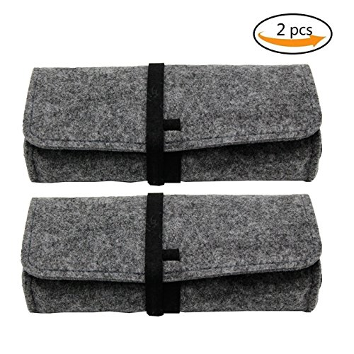 ZZ Sanity Felt Eyeglass Sunglasses Case,2 Pack Ultra Light Roll Up Sunglasses Pouch Pencil Storage Bag (Dark - Eyeglasses Ultra Lightweight