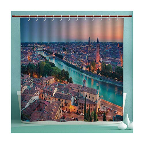 SHXJHOME Waterproof Shower Curtain Collection with Hooks, Verona Italy During Summer Sunset Blue Hour Adige River Medieval Historcal, Hand Drawing Effect Fabric Shower Curtains, 72x96 Inches