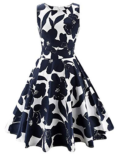 ARANEE Vintage Classy Floral Sleeveless Party Picnic Party Cocktail Dress,X-Large,02-navyblue+white (Ladies Fall Dress Hat)