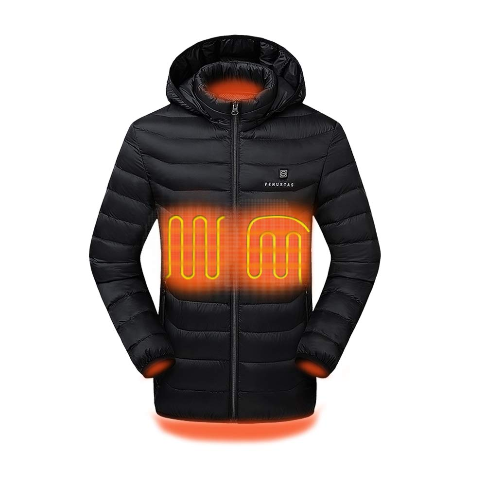 Venustas [2019 Upgrade] Heated Jacket with Battery Pack (Unisex) Heated Coat for Women and Men with Detachable Hood