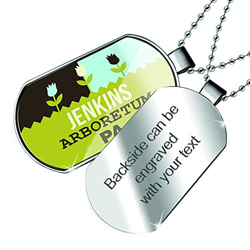 NEONBLOND Personalized Name Engraved US Gardens Jenkins Arboretum - PA Dogtag Necklace