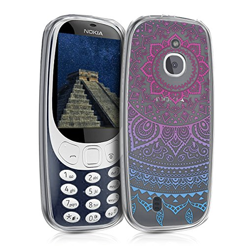 kwmobile TPU Silicone Case for Nokia 3310 3G 2017 / 4G 2018 - Crystal Clear Smartphone Back Case Protective Cover - Blue/Dark Pink/Transparent