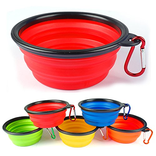 Collapsible Travel Dog Bowl * SET OF 4 * by Buster Pets - Carabiners Included - Premium Pet Travel Bowl for Food & Water - Dishwasher Safe Food Grade Silicone - BPA Free 100% Money Back Guarantee (Hiking Dog Gear compare prices)