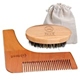 Breett Bristles Beard Brush and Pure Natural Schima Wood Comb, Beard Stylish Tool Set, Beard Comb Kit for Men Beard and Mustache with Storage Pouch