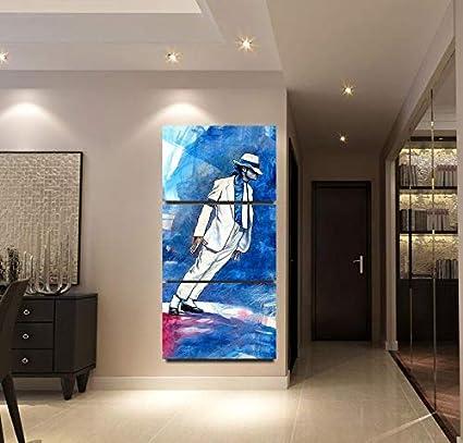 DYCUN Arte de la Pared de la Lona, Aceite Ilustraciones Fotos Moderna de la Pintura Cuadros colgados 3 Panel de Michael Jackson Arte de Pared Decoración for Sala de Estar HD Impreso