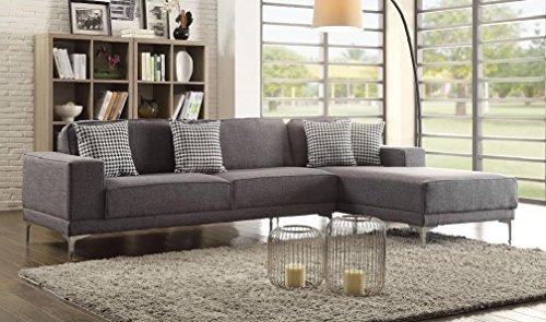 Modern Fabric Elegant Sectional Sofa - Grey