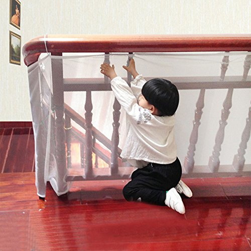 Children Safety Net, Leagway Stairway Safety Net, Banister Stair Protector Mesh Net For Kids/ Pet/ Toy Safety on Indoor/Outdoor Stairs, Balcony, Patios, Stairs Protector Fence Guard. 6.5ft x - 2.5' Bed