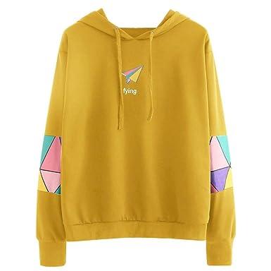 68c0d6f4de1d C est Womens Geometric Patterns Sweatshirt Casual Paper Plane Printed Long  Sleeve Jumper Pullover Tops