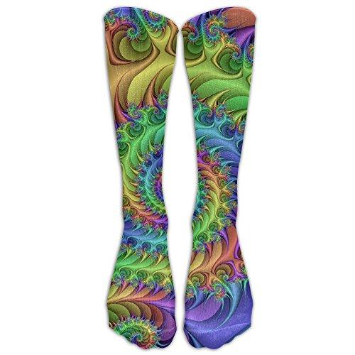 Amazing Fancy Dress Ideas (Yuelu Women&Men Amazing Rainbow Fractal Art Below Knee Socks Athletic Sports Tube Stockings)