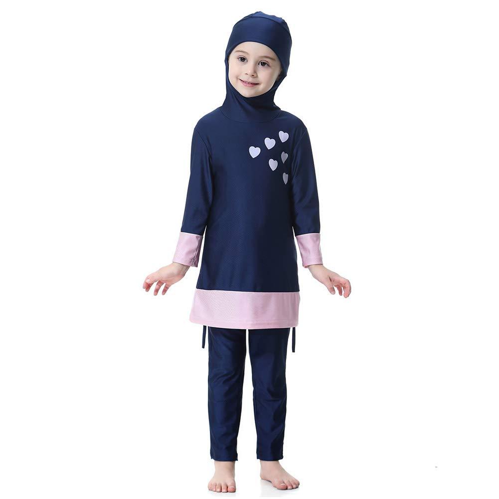 2 pi/èces Modeste Islamique Burkini Tankinis Costumes de Natation Moyen Orient Enfants Swimsuit Attach/é Bonnet de Bain Xinvivion Musulman Maillots de Bain pour Filles