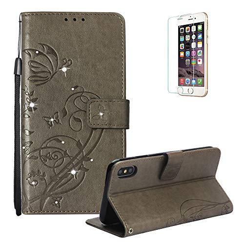 Funyye Shiny Sparkle Case for iPhone Xs Max,Stylish 3D Diamond Butterfly Embossing Magnetic Closure Wallet Case with Credit Card Holder PU Leather Stand Function Flip Case for iPhone Xs Max,Gray