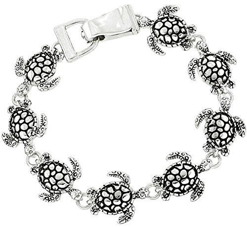 Cute Silver Tone Magnetic Clasp Tropical Sea Turtle Charm Bracelet for Women and Teens