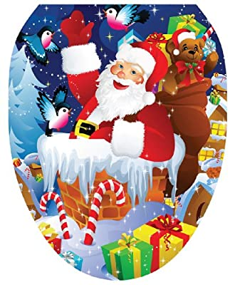 Toilet Tattoos Santa Up On A Roof Decorative Applique For Toilet Lid