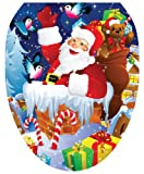 Toilet Tattoos TT-X610-O Santa Up On A Roof Decorative Applique For Toilet Lid, Elongated