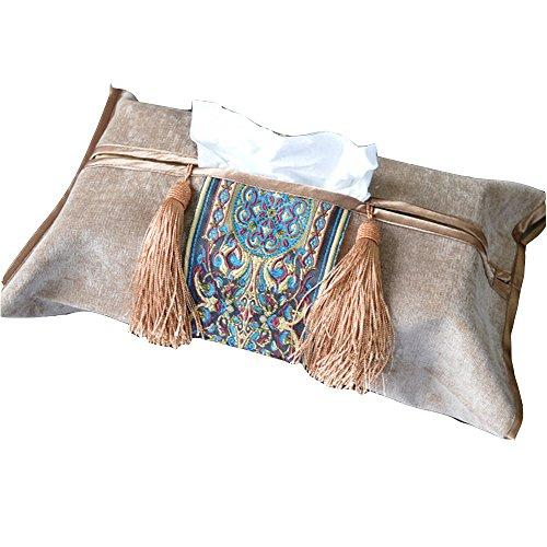 Comfspo Chinese Style Antique Design Embroidery Handmade Tissue Box Cover Decorative Tissue Box
