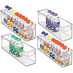 "mDesign Kitchen Refrigerator Cabinet or Pantry Baby Food Storage Organizer Bin with Handles for Breast Milk, Pouches, Jars, Bottles, Formula, Juice Boxes - BPA Free, 16"" x 4"" x 5"" - 4 Pack - Clear"