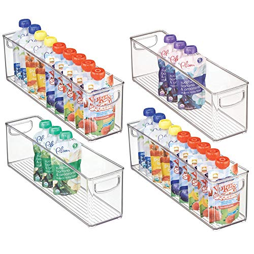 mDesign Kitchen Refrigerator Cabinet or Pantry Baby Food Storage Organizer Bin with Handles for Breast Milk, Pouches, Jars, Bottles, Formula, Juice Boxes - BPA Free, 16