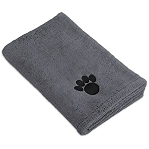 DII Bone Dry Microfiber Pet Bath Towel with Embroidered Paw Print, 44×27.5″, Ultra-Absorbent & Machine Washable for Small, Medium, Large Dogs and Cats-Gray