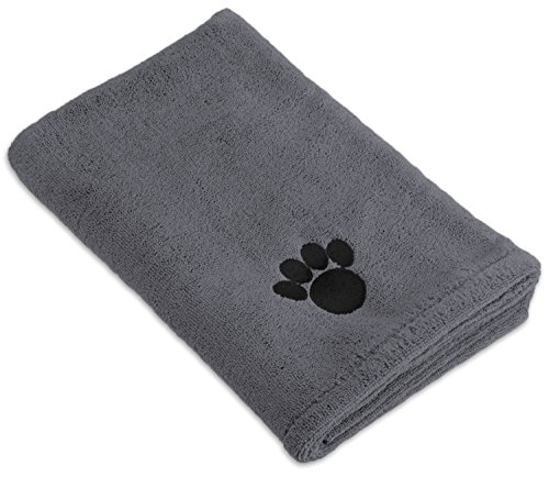 Bone Dry DII Microfiber Pet Bath Towel with Embroidered Paw Print, 44x27.5, Ultra-Absorbent & Machine Washable for Small, Medium, Large Dogs and Cats-Gray