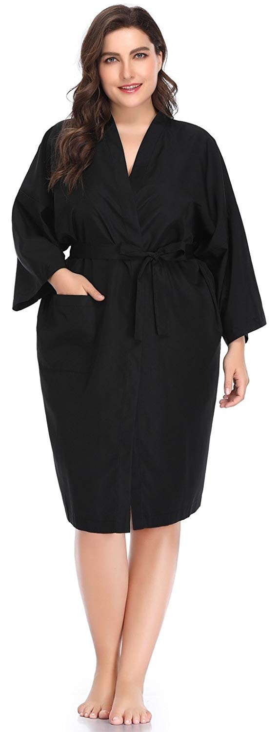 Salon Gown Robes for Clients, Hair Salon Client Smock Cape-Large Size-Black with Leopard Trim Perfehair SW006-XL